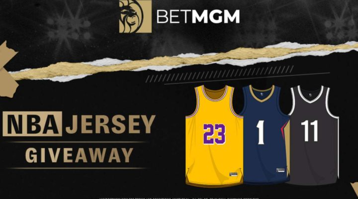 three NBA jerseys below the BetmGM logo and next to the phrase NBA jersey givaway