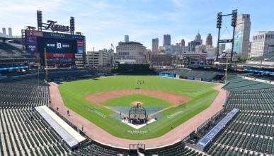 Comerica Park during a baseball practice session with the Detroit Tigers Summer Workouts