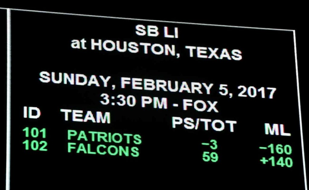 A digital betting board showing the odds for the Super Bowl LI between the Atlanta Falcons and the New England Patriots