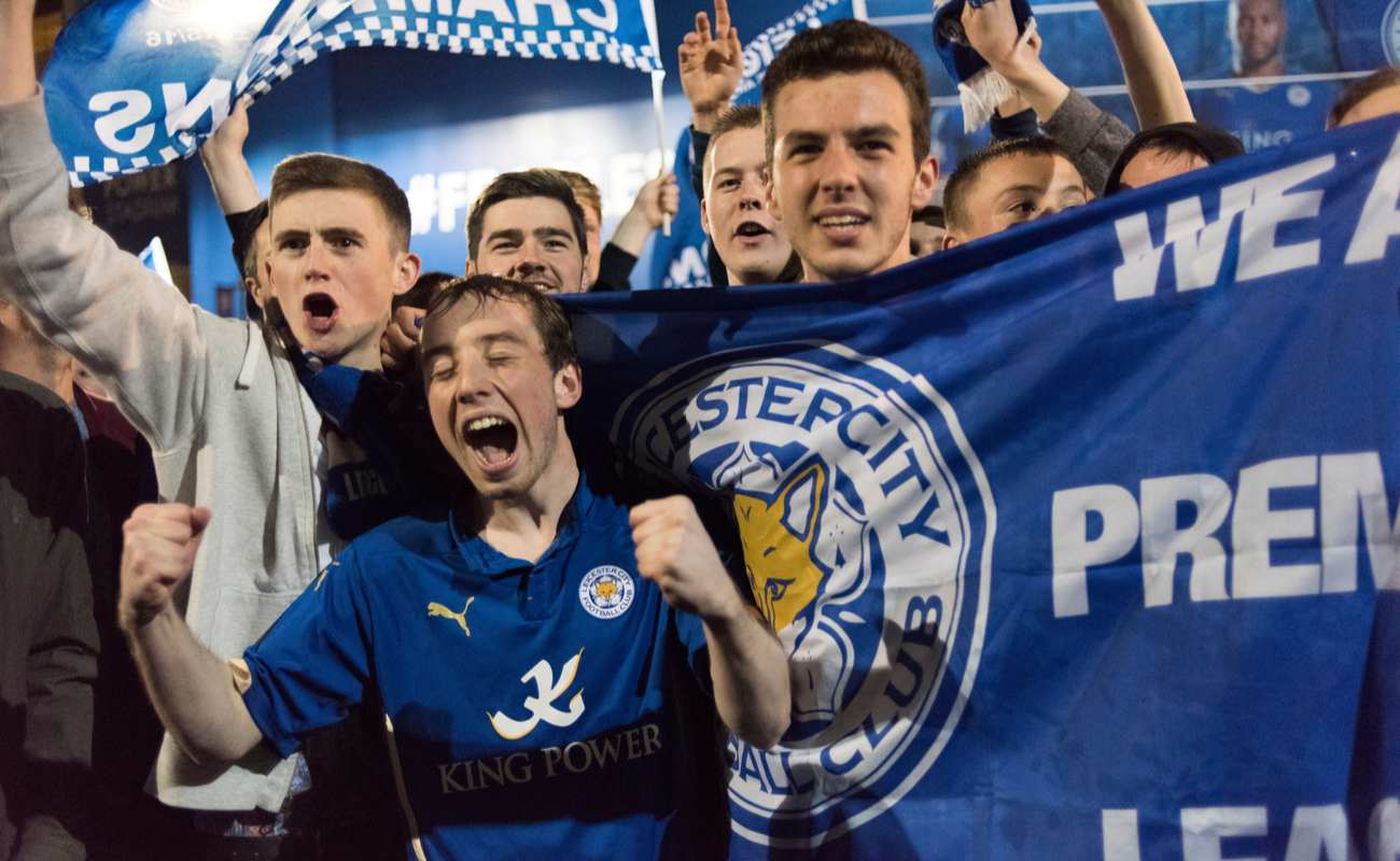 Leicester City fans on the streets celebrating the premier league title