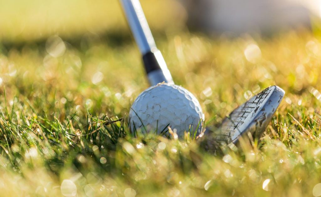 Close up golf ball with club on green grass