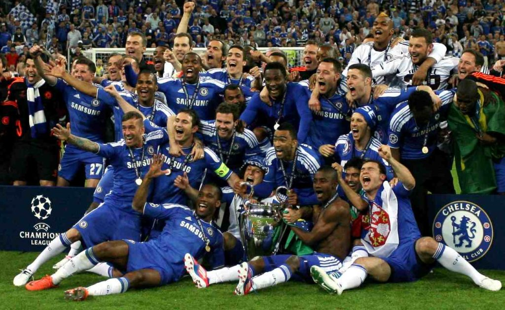 Players of Chelsea FC celebrate with the trophy after winning the UEFA Champions League final