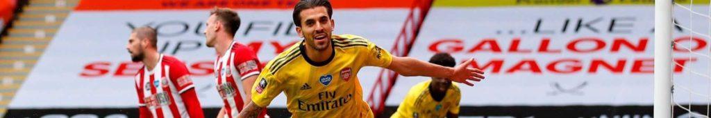 Arsenal's midfielder Dani Ceballos runs to celebrate scoring goal during  English FA Cup