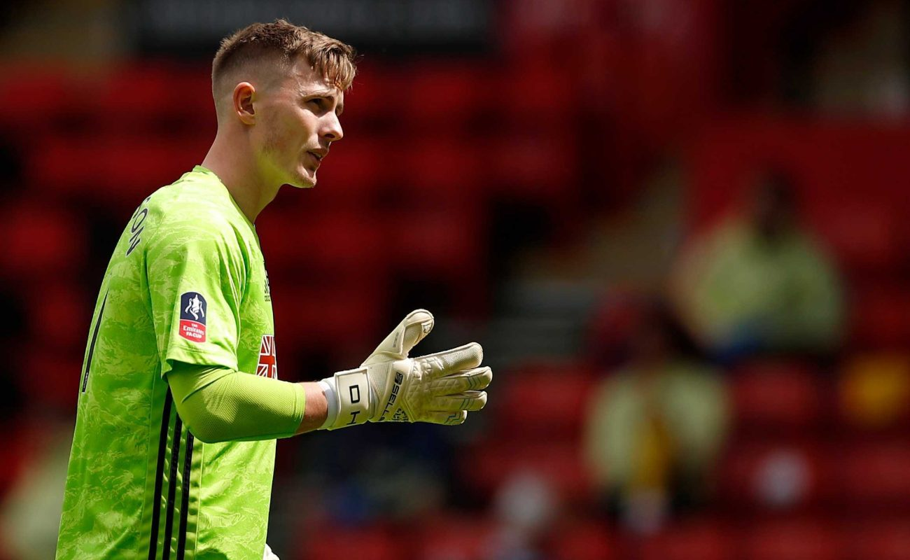 Sheffield United's goalkeeper Dean Henderson looks on during the English FA Cup quarter-final football match