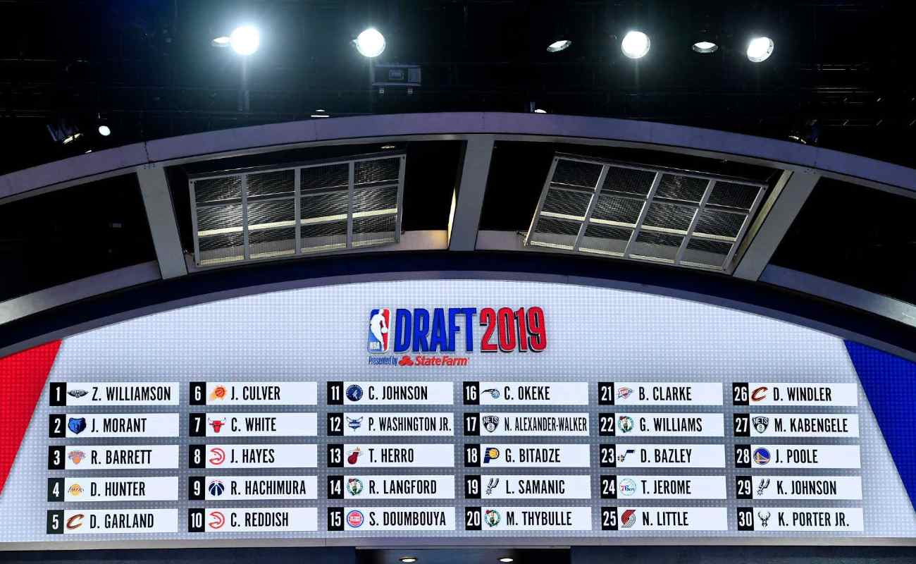 The first round draft board seen during 2019 NBA Draft at Barclays Center
