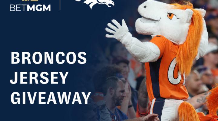 BetMGM and Denver Broncos Jersey Giveaway banner showing the Broncos mascot