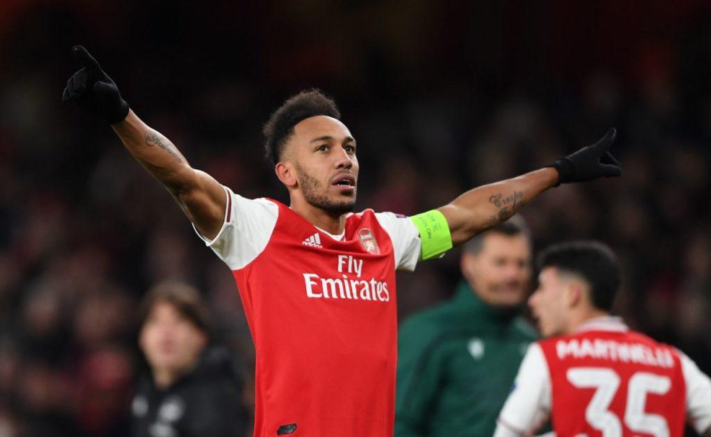 Pierre-Emerick Aubameyang celebrates scoring a goal for Arsenal