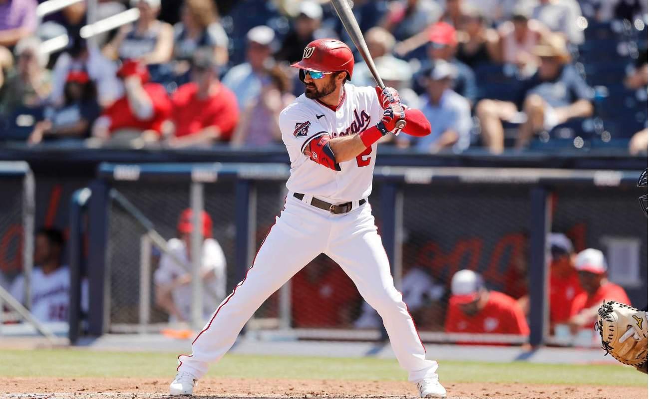 Adam Eaton of Washington Nationals bats against New York Yankees during Grapefruit League training game