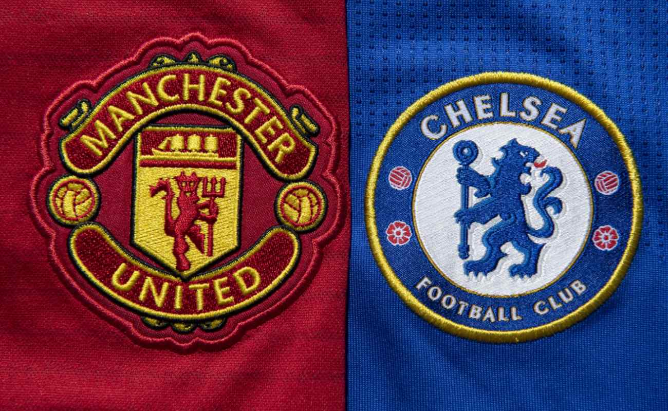 The Chelsea and Manchester United club crests on a first team home shirts