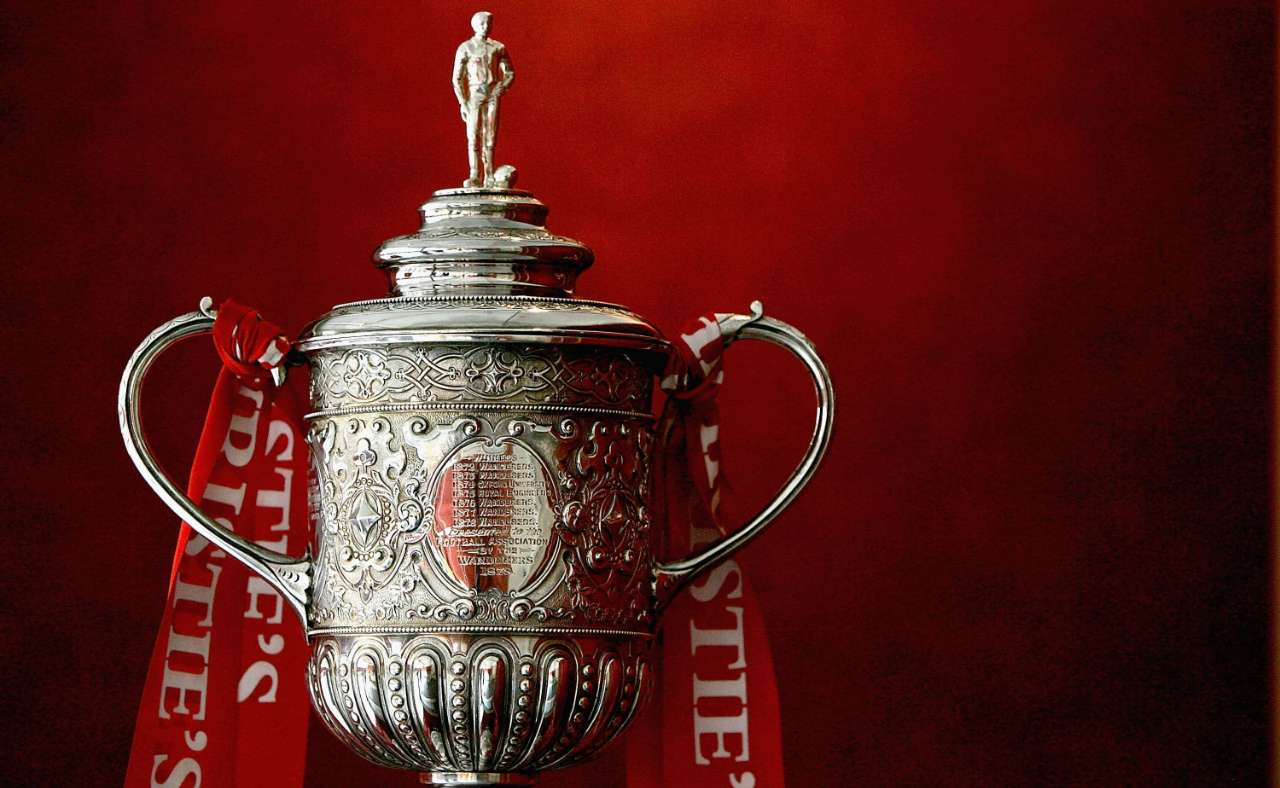The Football Association Challenge Cup stands in Christies Auction house on May 17, in London (Daniel Berehulak / Staff)