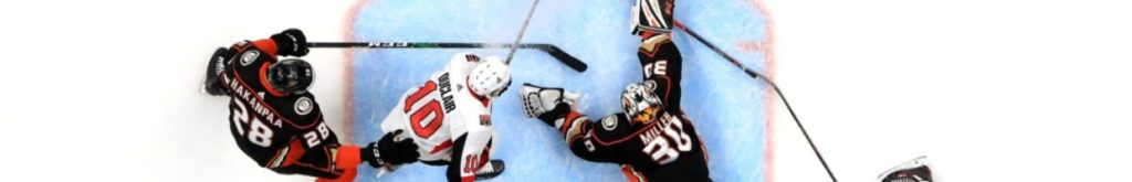 Top view of the Ottawa Senators playing the Anaheim Ducks.