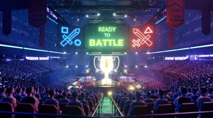 eSports arena with Ready To Battle neon signage