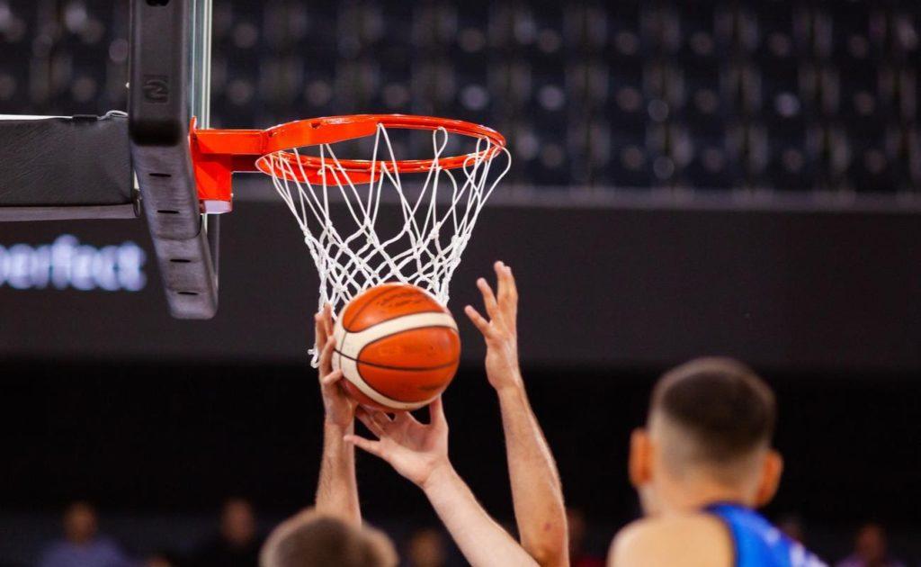 Basketball in a hoop