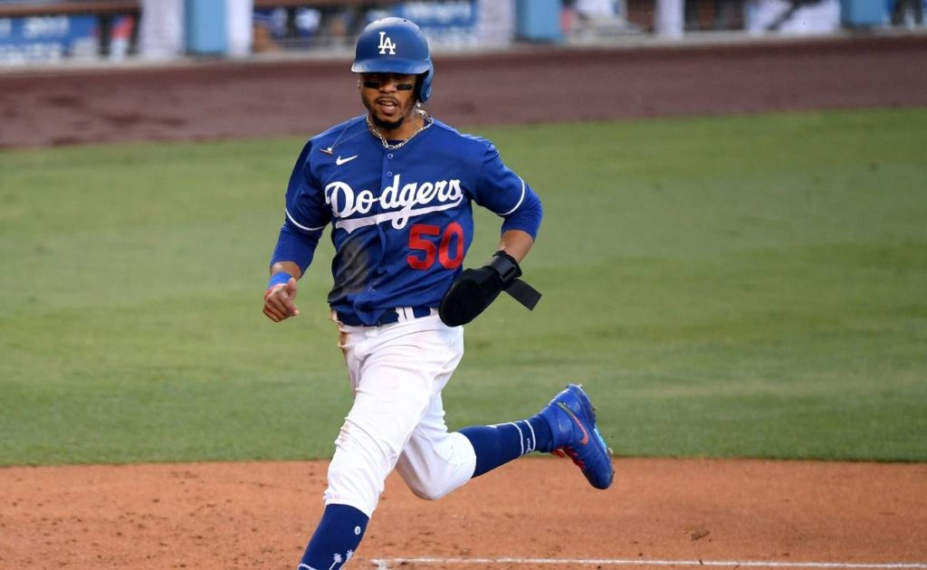 Mookie Betts #50 of the Los Angeles Dodgers scores a run during game against Arizona Diamondbacks