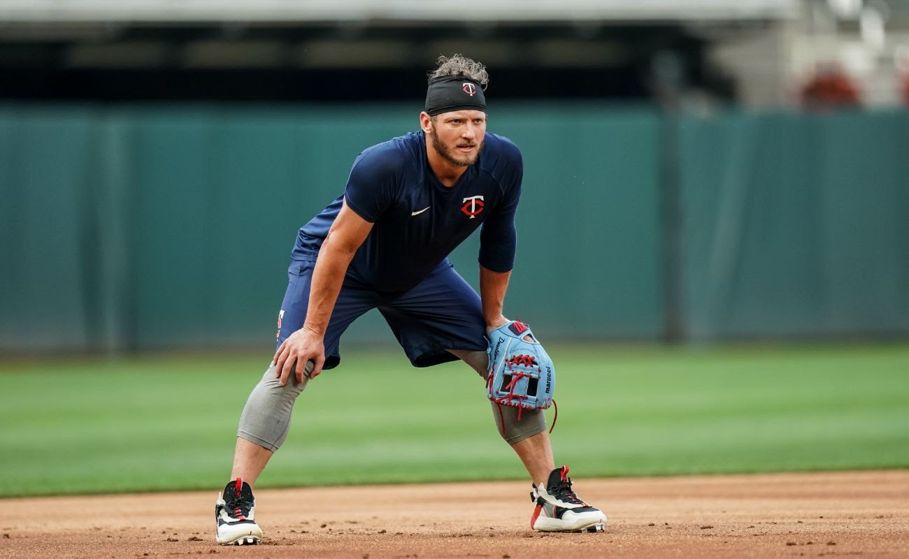 Josh Donaldson #24 of the Minnesota Twins looks on during a summer camp workout