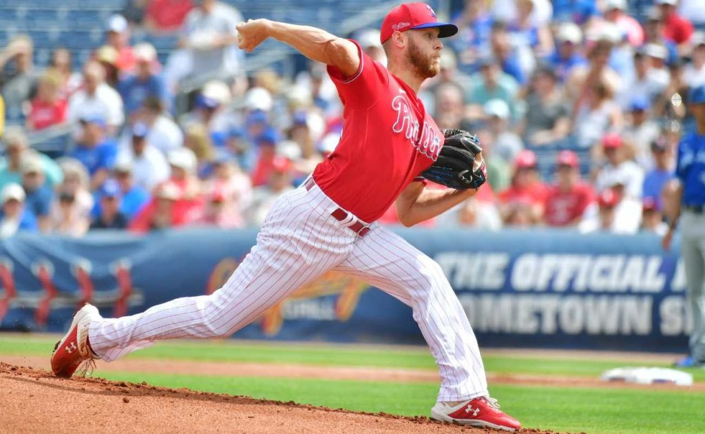 Zack Wheeler #45 of the Philadelphia Phillies delivers a pitch during the first inning of a Grapefruit League spring training