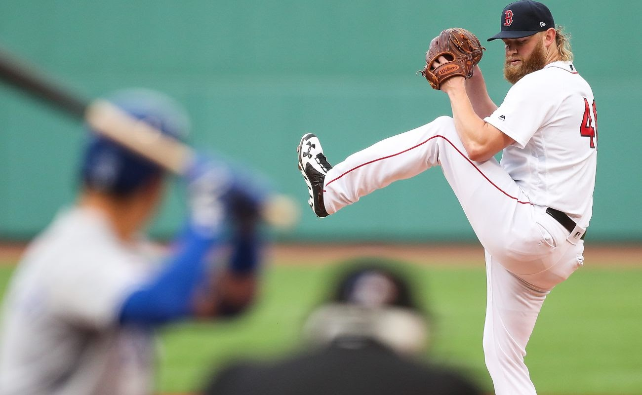 Andrew Cashner #48 of the Boston Red Sox pitches during game against Kansas City Royals