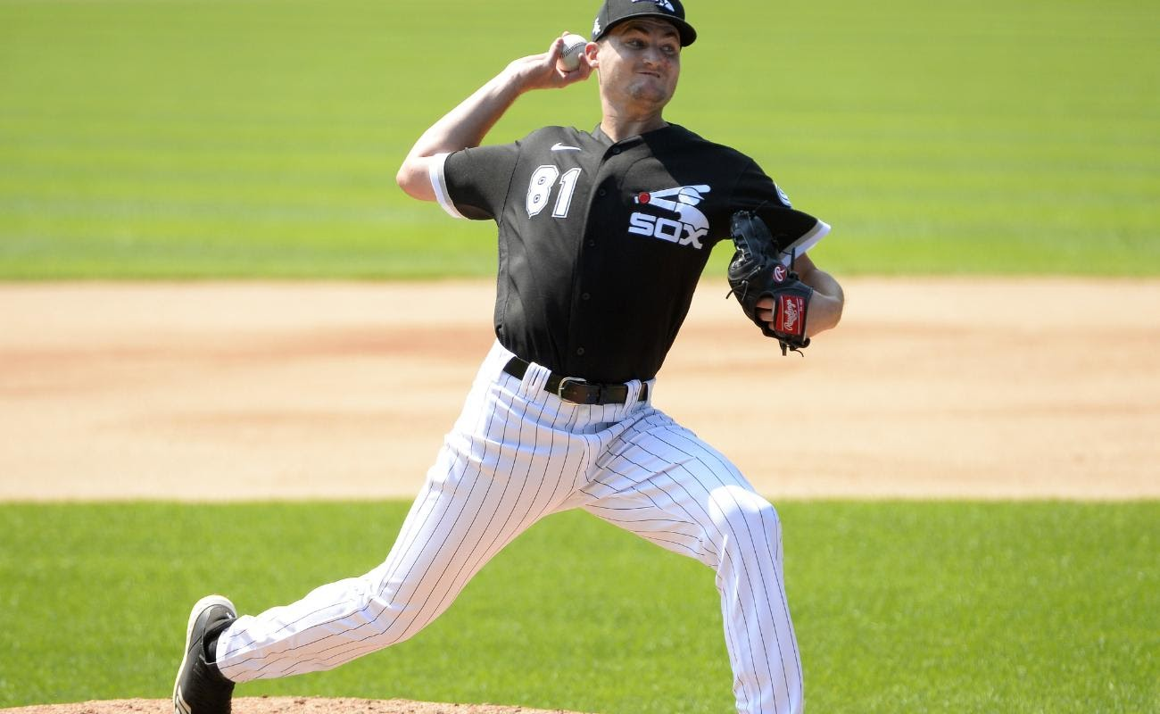 Jimmy Lambert of the Chicago White Sox pitches during summer workouts as part of Major League Baseball Spring Training