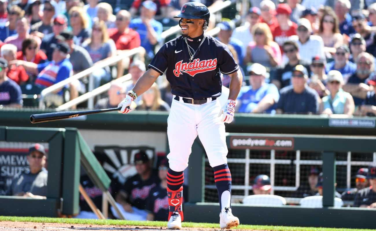 Francisco Lindor #12 of the Cleveland Indians gets ready to step into the batters box against the Chicago Cubs