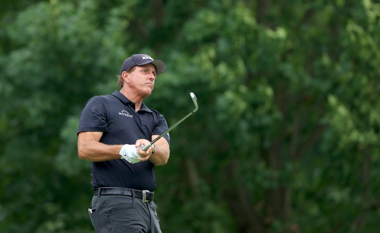 Phil Mickelson of the United States plays his shot during The Memorial Tournament on July 16, 2020