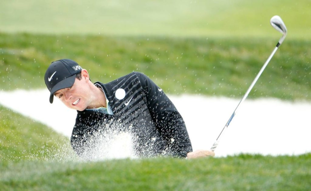Rory McIlroy hits from bunker during the World Golf Championships Cadillac Match Play at TPC Harding Park