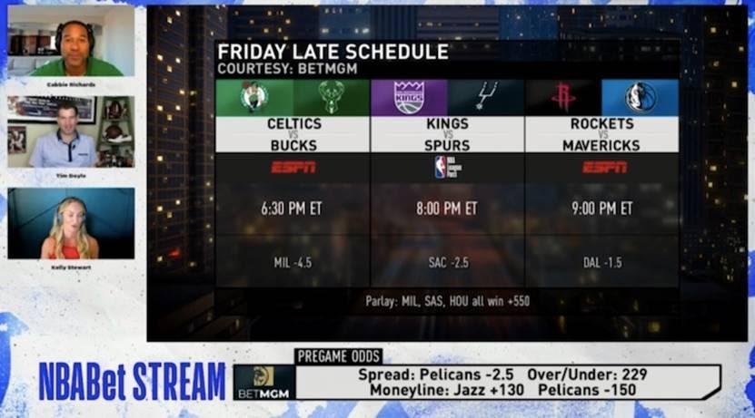 screenshot of new NBABet Stream video service