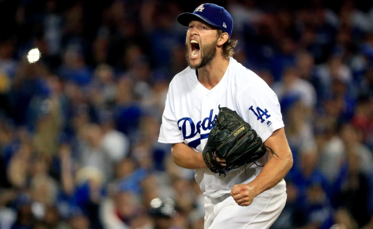 Dodgers player Clayton Kershaw celebrates on the field.