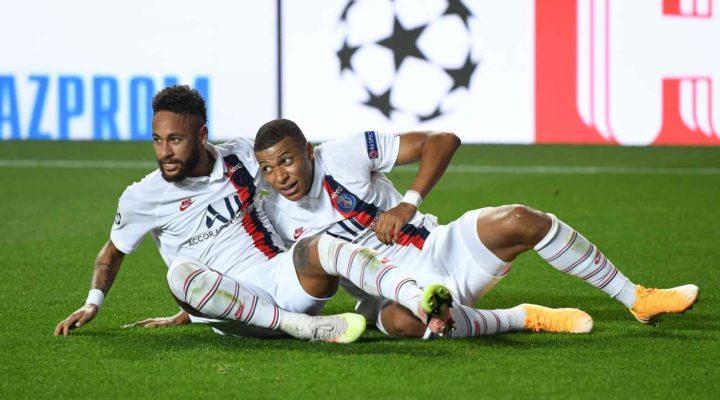 Neymar and Kylian Mbappe of Paris Saint-Germain celebrate PSG's second goal in the UEFA Champions League quarter-finals