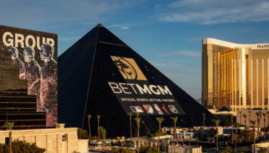The new BetMGM ad wrap on the Luxor hotel in Las Vegas