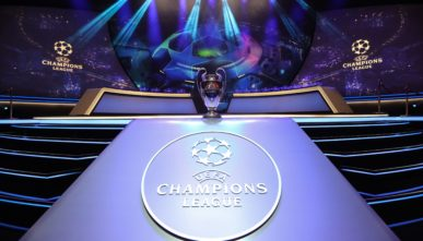 The Champions League Trophy Surrounded by Digital Screens