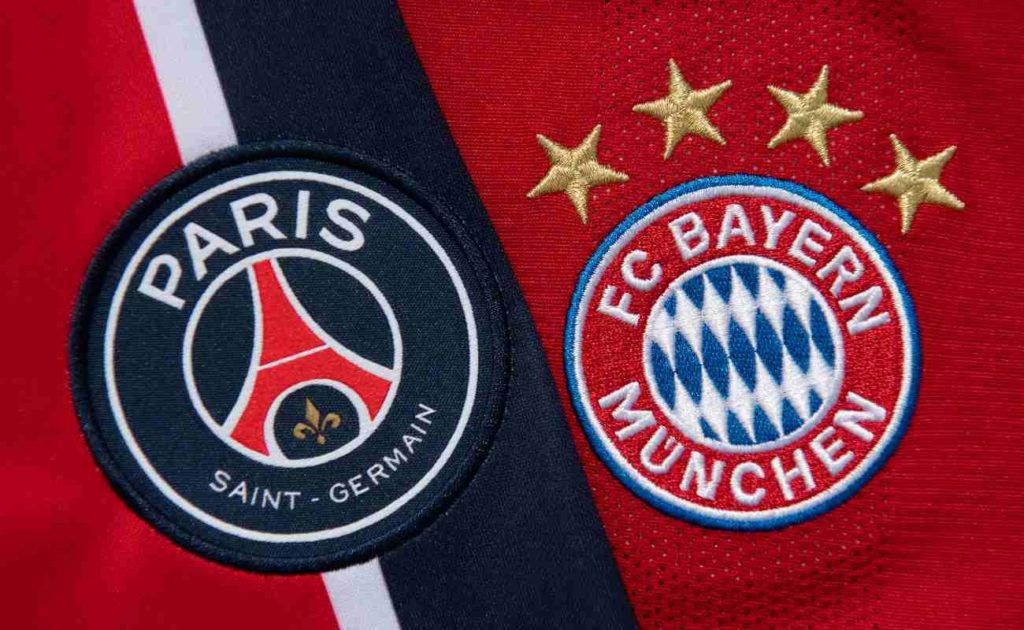 Paris Saint-Germain and FC Bayern Munich Badges Side by Side