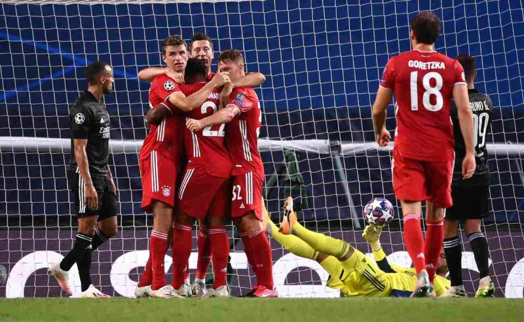 Bayern Munich Players Celebrate Scoring Against Lyon in the Semi-Finals