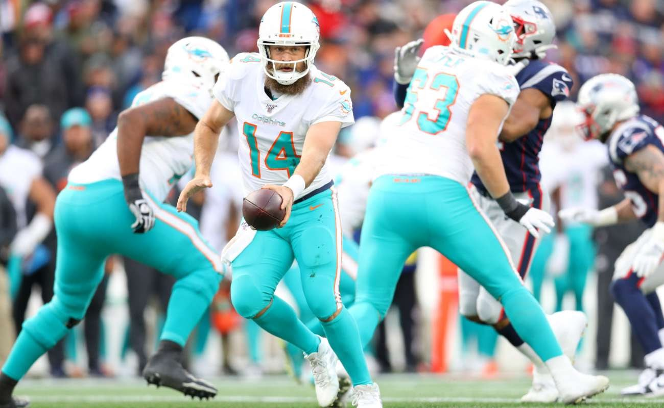 Ryan Fitzpatrickof Miami Dolphins during game against New England Patriots at Gillette Stadium