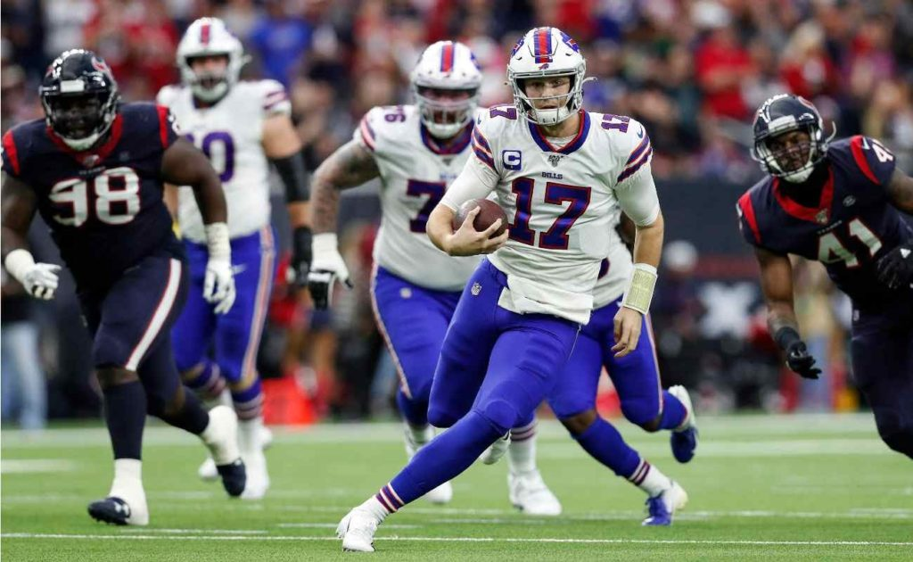 Josh Allen scrambles in the AFC Wild Card Playoff game between the Buffalo Bills and the Houston Texans