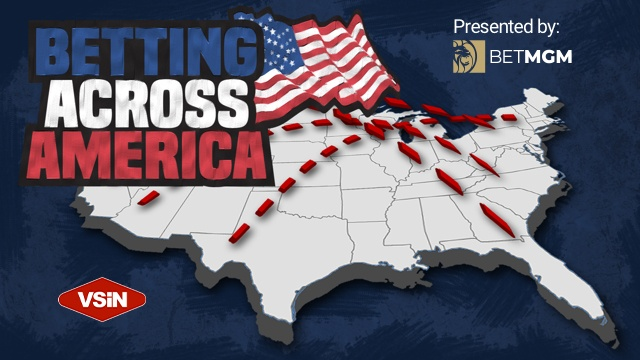 Map of United States of America with Betting Across America by VSiN and BetMGM