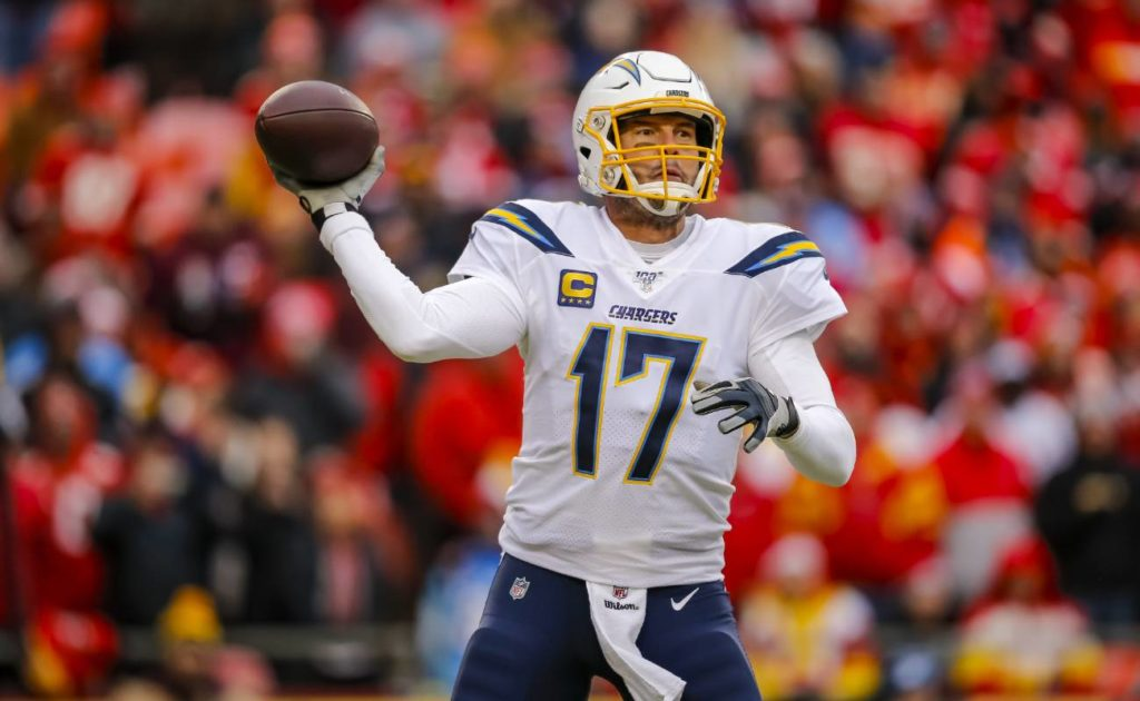 Philip Rivers of Los Angeles Chargers during game against Kansas City Chiefs at Arrowhead Stadium
