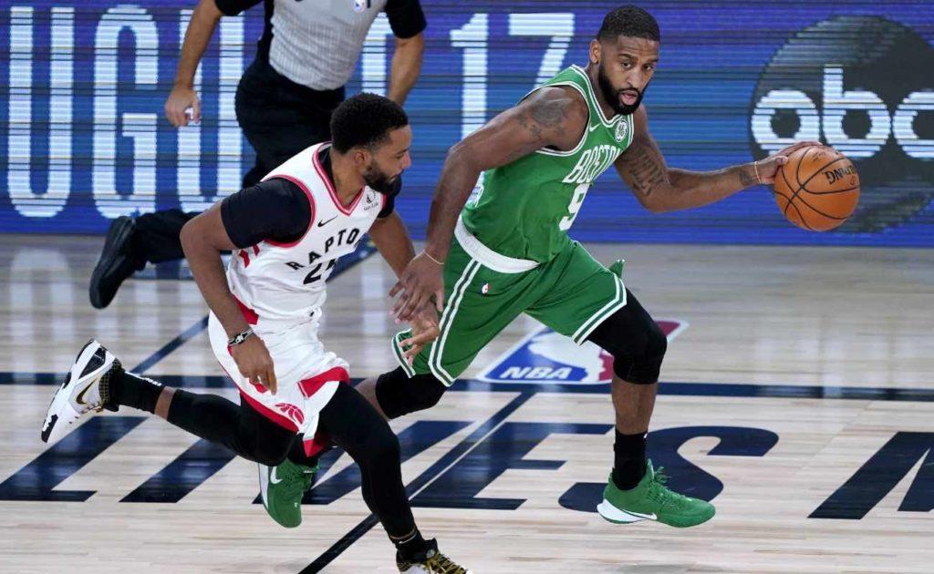 Brad Wanamaker of Boston Celtics against Norman Powell of Toronto Raptors on August 7, 2020