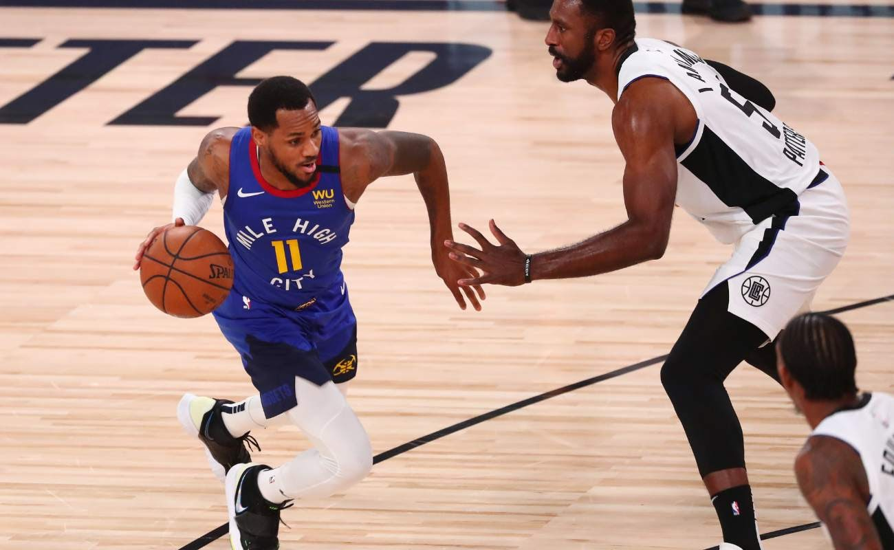 Monte Morris of Denver Nuggets against Patrick Patterson of LA Clippers on August 12, 2020