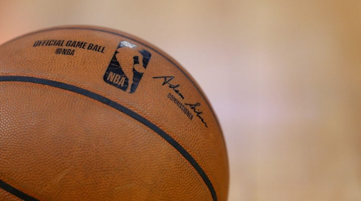 A detail shot of NBA game ball at Chase Center