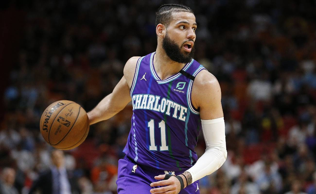 Cody Martin of Charlotte Hornets in action against the Miami Heat at American Airlines Arena
