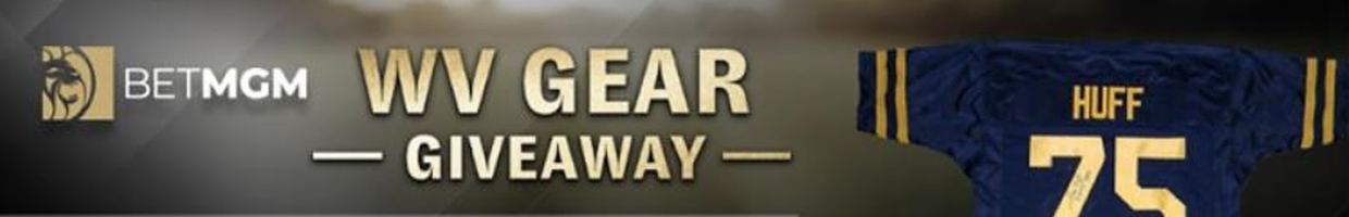 Giveaway details featuring a Huggins signed basketball, Sam Huff signed jersey and RC cooler