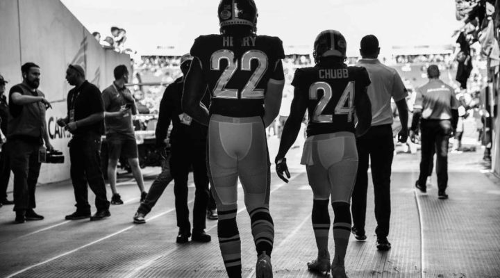 Derrick Henry of Tennessee Titans and Nick Chubb of Cleveland Browns take the field prior to the 2020 NFL Pro Bow