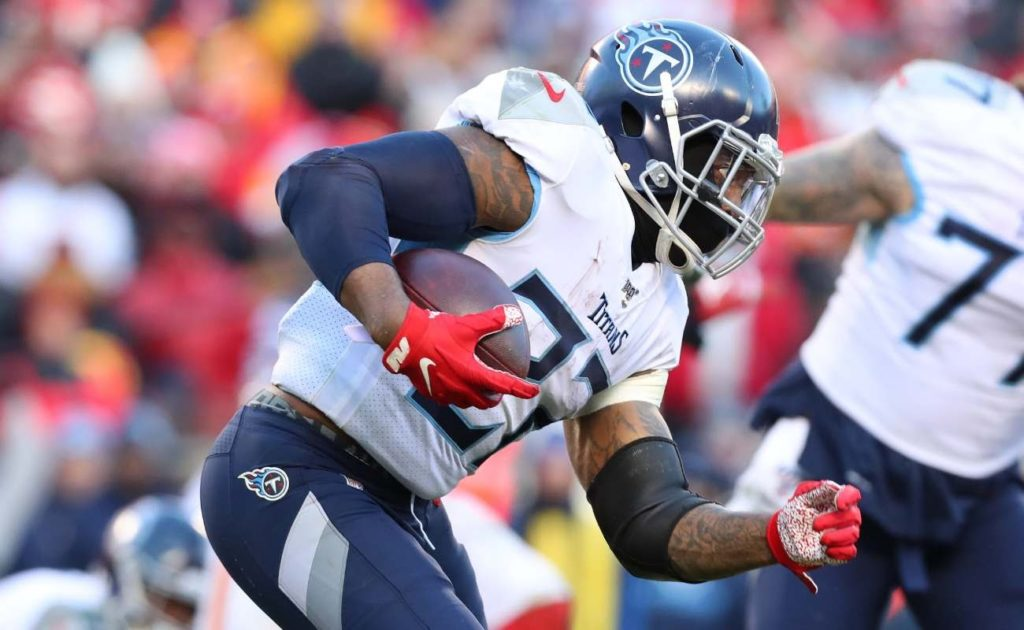Derrick Henry of Tennessee Titans runs with the ball during AFC Championship Game