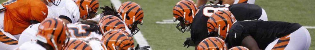 Cincinnati Bengals offensive and defensive units face off at the line during a scrimmage