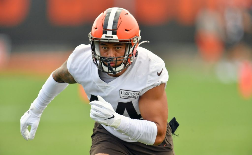 Linebacker Sione Takitaki of Cleveland Browns works out during training camp at the Brown's training facility