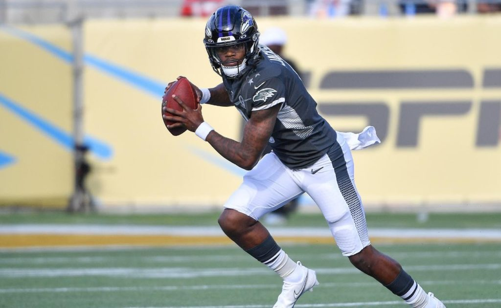 Lamar Jackson of Baltimore Ravens in action during 2020 NFL Pro Bowl at Camping World Stadium