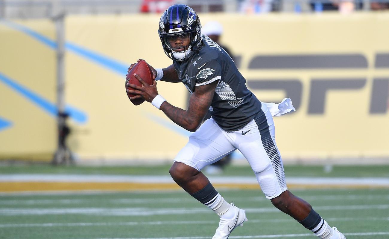 Lamar Jackson of Baltimore Ravens in action during 2020 NFL Pro Bowl at Camping World Stadium