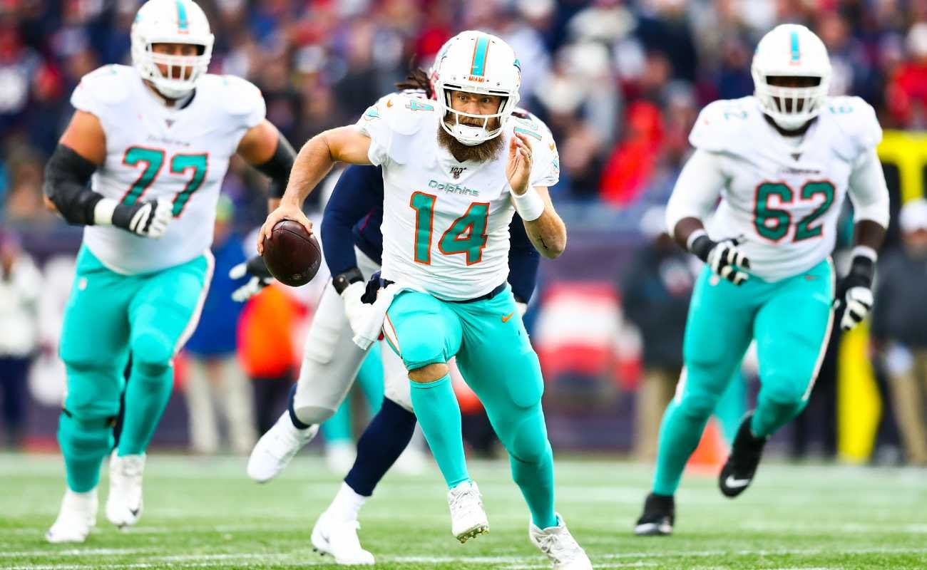 Ryan Fitzpatrick of Miami Dolphins  at Gillette Stadium on December 29, 2019