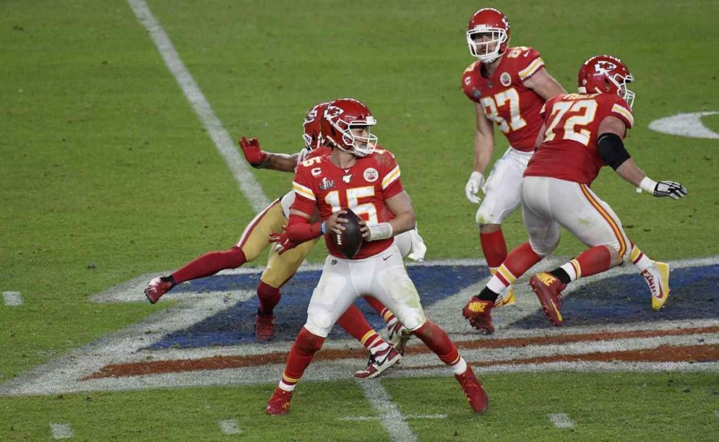 Patrick Mahomes of Kansas City Chiefs against San Francisco 49ers in Super Bowl LIV at Hard Rock Stadium