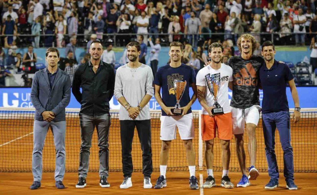 Tennis players at the Adria Tour charity exhibition hosted by Novak Djokovic in 2020 in Serbia.